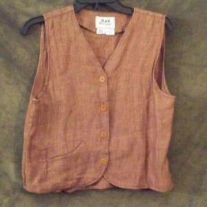 Flax, chestnut brown vest size petite
